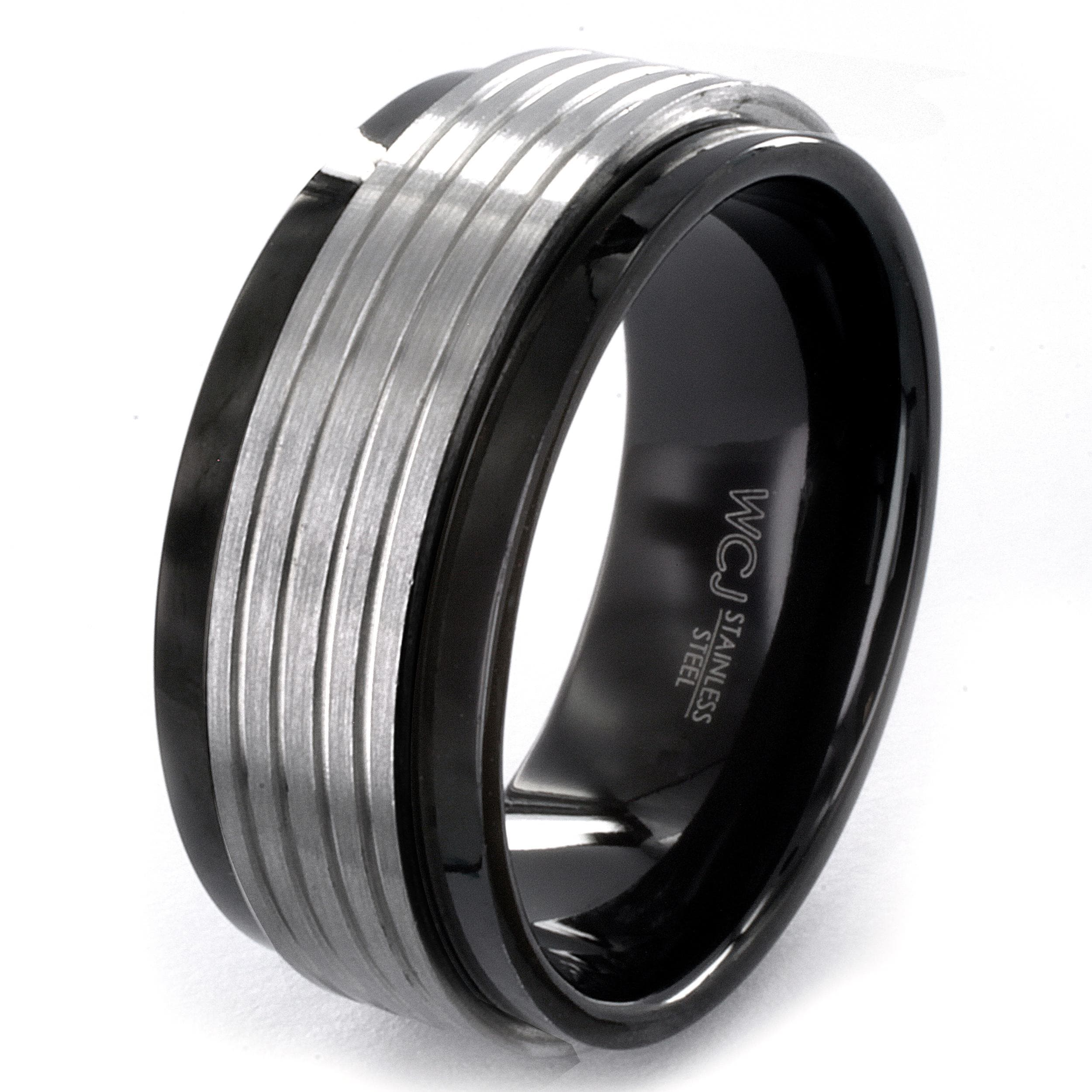 Eziba Collection Two-tone Stainless Steel Grooved Spinner Ring at Sears.com