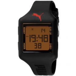 Puma Men&#39;s Black Red Dial Digital Watch
