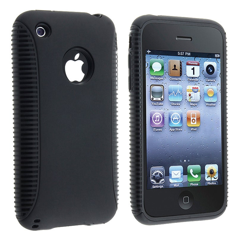 Black TPU/ Black Plastic Hybrid Case for Apple iPhone 3G/ 3GS