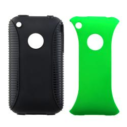 Black TPU/ Green Plastic Hybrid Case for Apple iPhone 3G/ 3GS