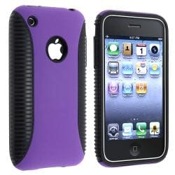 Black TPU/ Purple Plastic Hybrid Case for Apple iPhone 3G/ 3GS