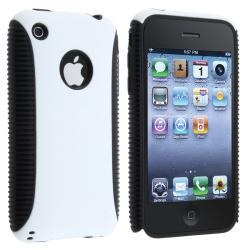 Black TPU/ White Plastic Hybrid Case for Apple iPhone 3G/ 3GS