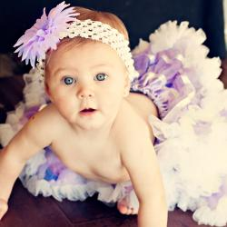 Extra-fluffy Lavender-and-white Tutu Set for Babies