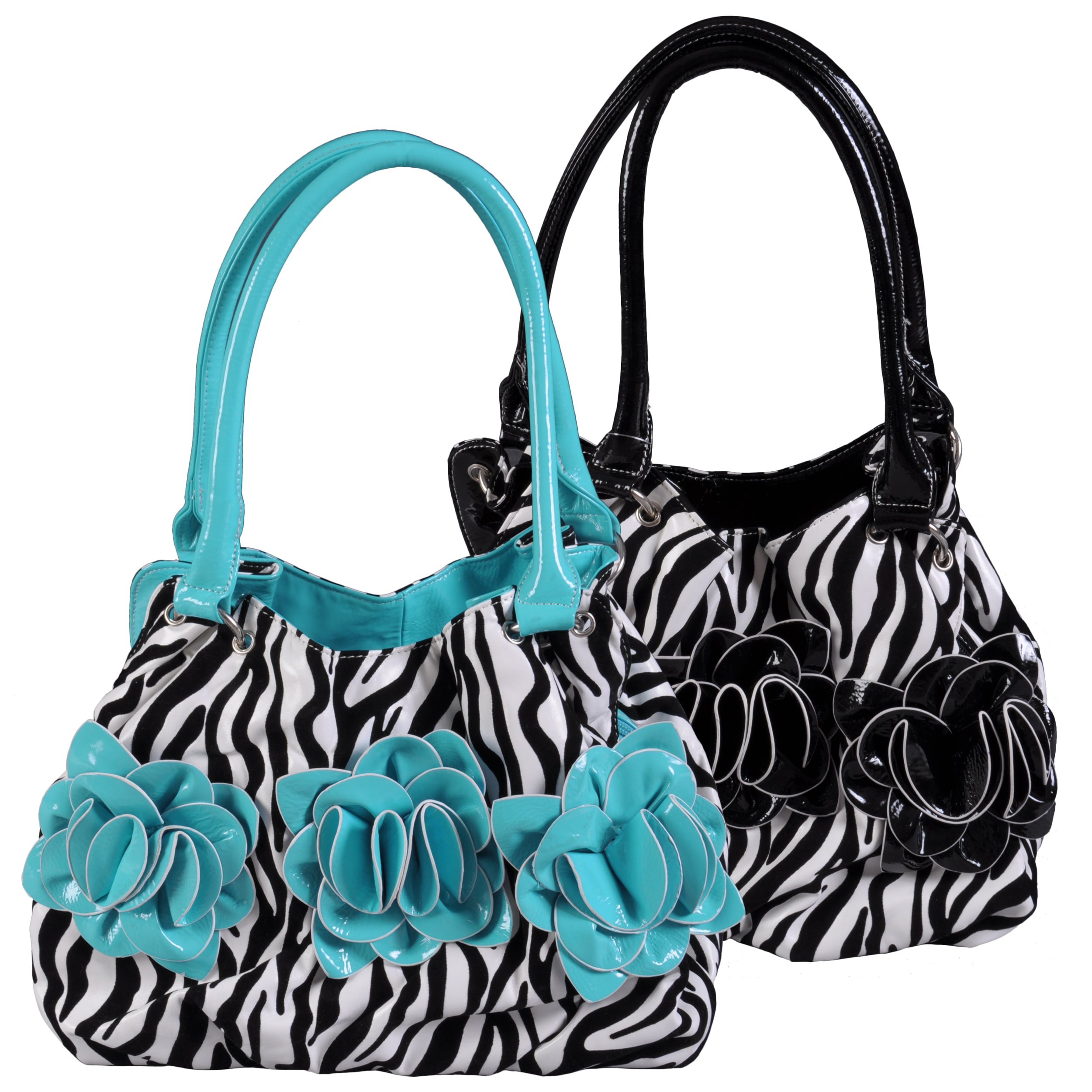 Journee Collection Women's Flower Detail Zebra Print Hobo Bag
