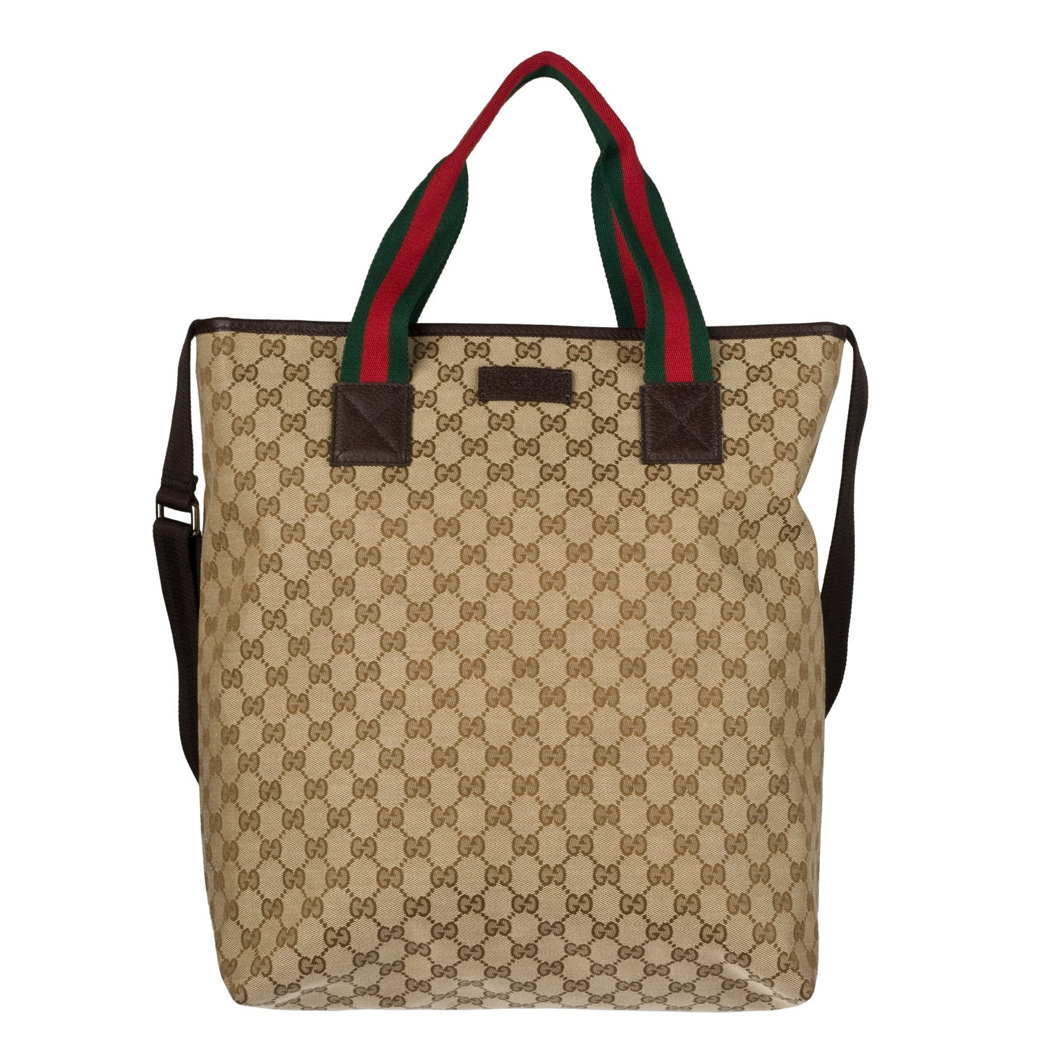 Gucci Web Detailed Canvas Tote Bag