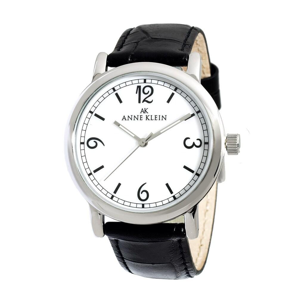 Anne Klein Womens Black Leather Strap Watch