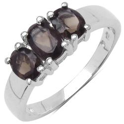 Malaika Sterling Silver Smokey Topaz Ring (1 1/10ct TGW)