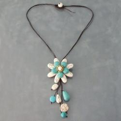 White and Blue Turquoise Floral Necklace (Thailand)