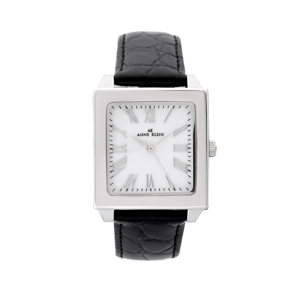 Anne klein women 39 s black leather strap watch 13993041 shopping big discounts for Anne klein leather strap