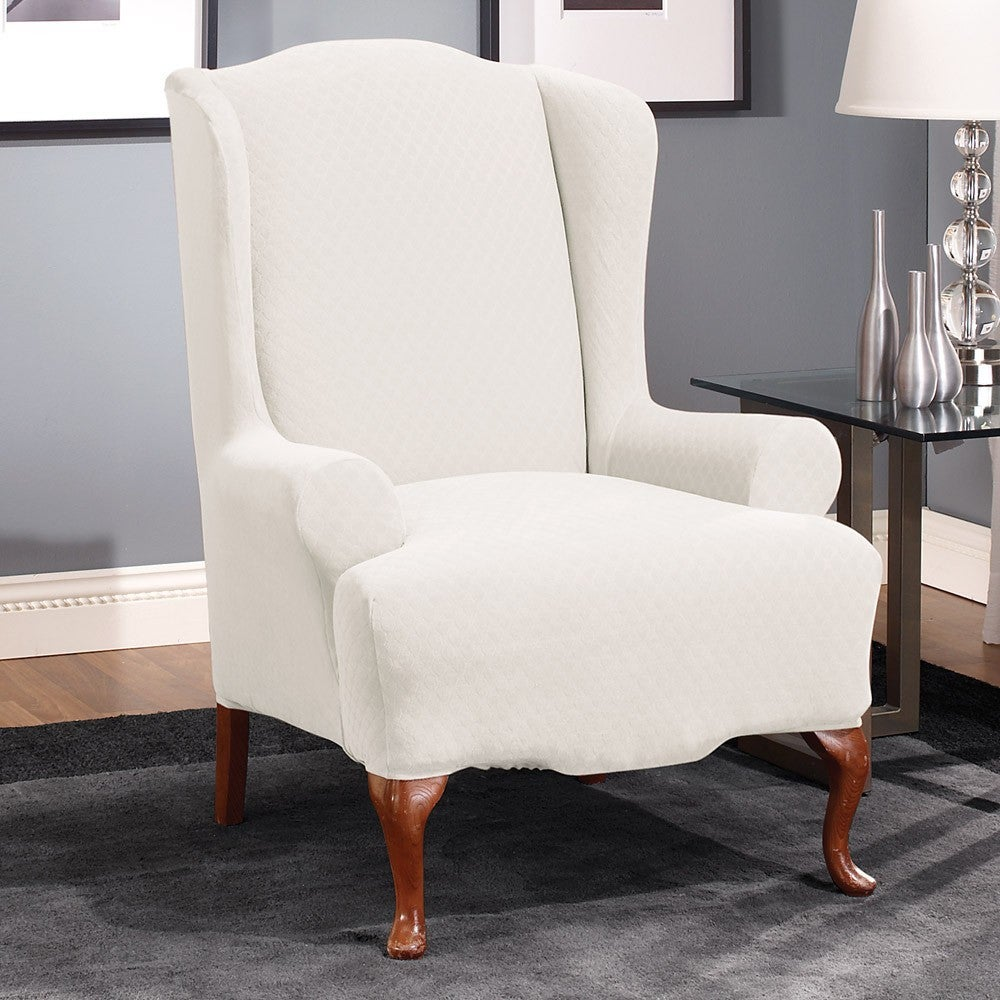 Sure Fit Stretch Stone Wing Chair Slipcover