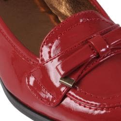 Journee Collection Women's 'Uniform-02' Patent Bow Accent Loafers
