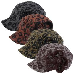 Adi Designs Women's Flower Accent Woven Military Cap