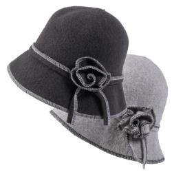 Journee Collection Women's Rosette Accent Wool Cloche Hat
