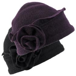 Journee Collection Women's Rosette Accent Wool Beanie