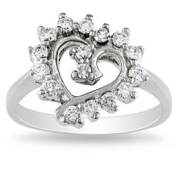 Miadora 14k White Gold 2/5ct TDW Diamond Heart Ring (I-J, I1-I2)