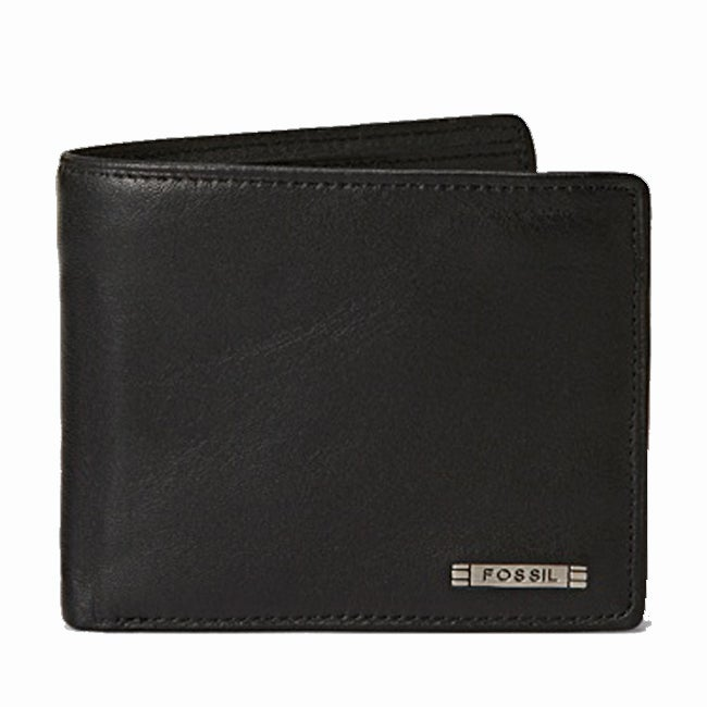 Fossil Men's 'Evans' Black Leather Bi-fold Wallet