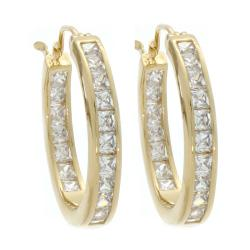 Nexte Jewelry Gold Overlay Cubic Zirconia Hoop Earrings