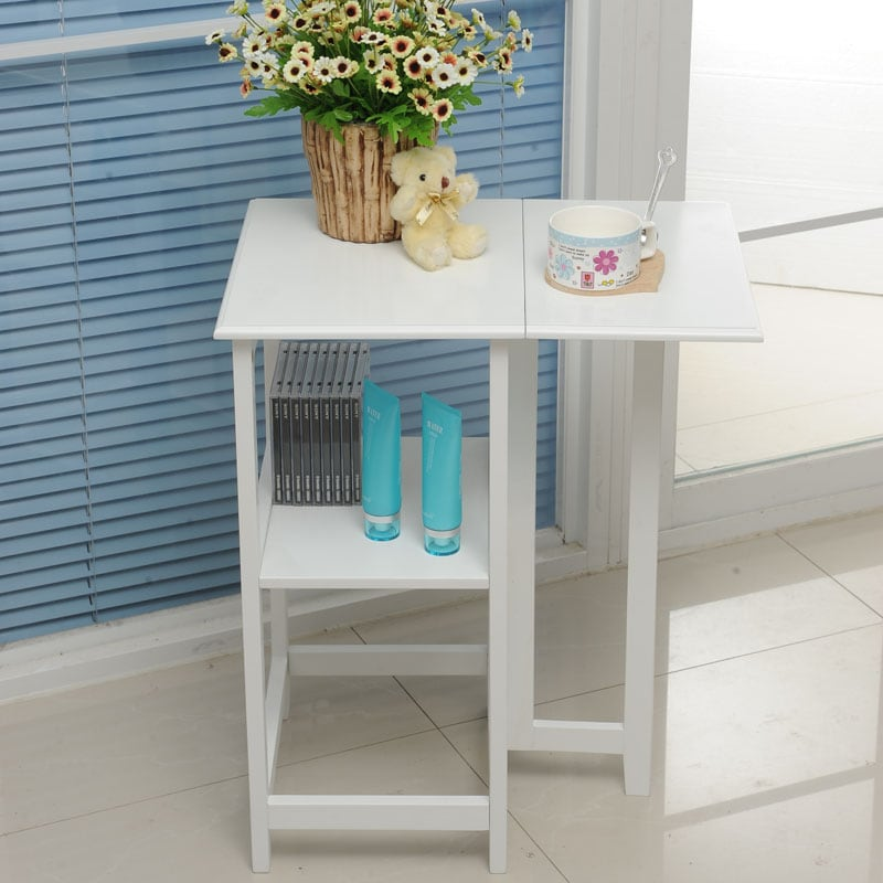 White Side End Table With Folding Leaf Extension