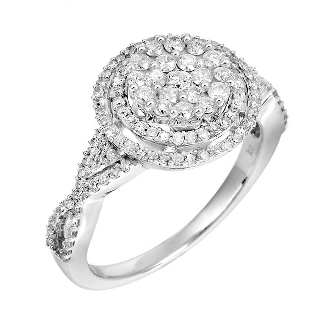 14k White Gold 7/8ct TDW White Diamond Halo Ring (G, SI1-SI2)