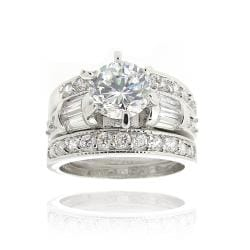 Icz Stonez Rhodiumplated Cubic Zirconia 3ct TGW Bridal Ring Set