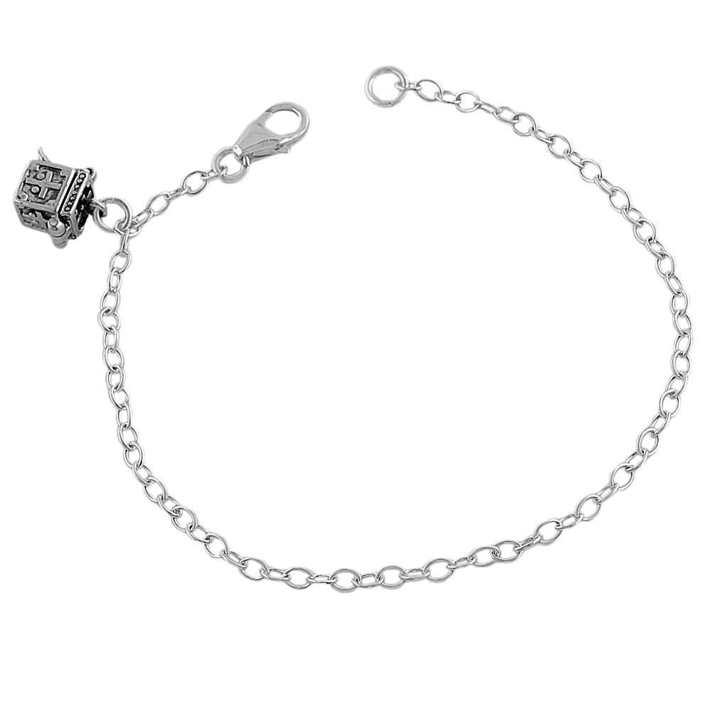 Sterling Silver Treasure Chest High-polish Cable-chain Charm Bracelet