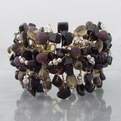 Wide Web Works Goldtone Gemstone Weave Brass Cuff Bracelet (Thailand)