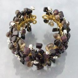 Wide Web Works Goldtone Gemstone Weave Brass Cuff Bracelet (Thailand)