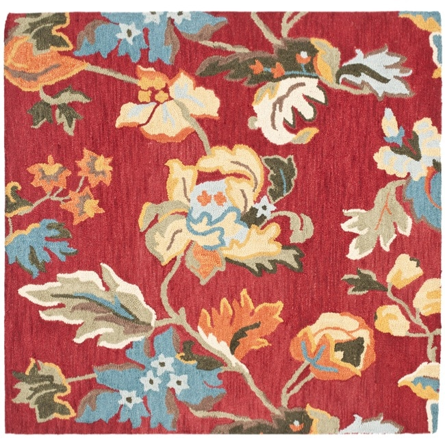 Safavieh Handmade Blossom Red Wool Rug (6' Square)