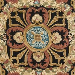 Handmade Aubusson Cheron Black/ Blue Wool Rug (7'6 x 9'6)