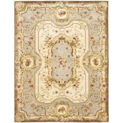 Safavieh Handmade Aubusson Plaisir Ivory/ Light Blue Wool Rug (7'6 x 9'6)