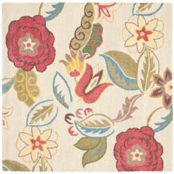 Safavieh Handmade Blossom Paisley Beige Wool Rug (6' Square)