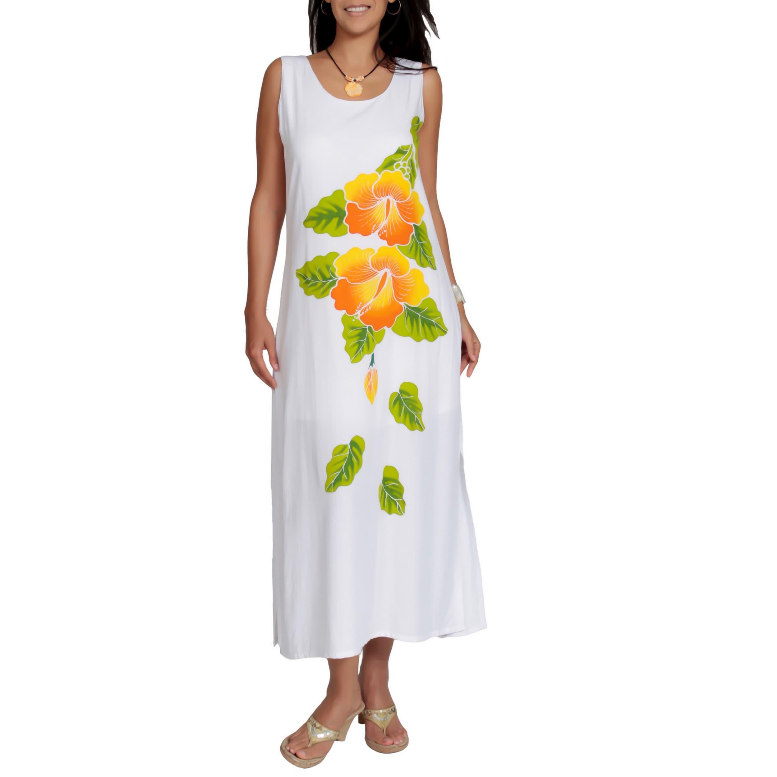 Women's White Rayon Hibiscus Maxi Dress (Indonesia)