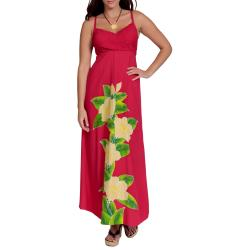 Women's Hot Pink V-Neck Long Floral Dress (Indonesia)