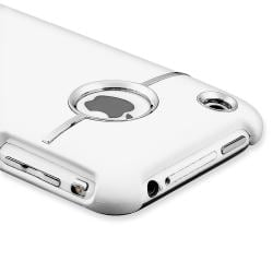 White Case with Chrome Hole Rear for Apple iPhone 3G/ 3GS