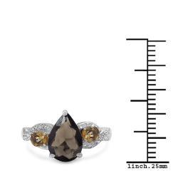 Malaika Sterling Silver Smoky Quartz and Citrine Ring (2 1/5ct TGW)