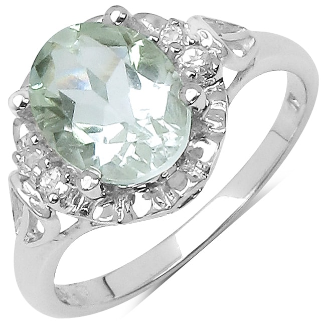 Malaika Sterling Silver Green Amethyst and White Topaz Ring (1 4/5ct TGW)