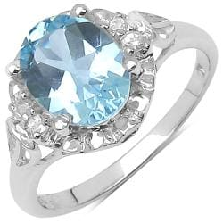 Malaika Sterling Silver Blue and White Topaz Ring (2 3/5ct TGW)
