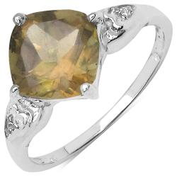 Malaika Sterling Silver Champagne Quartz/ White Topaz 2.21ct TGW Ring