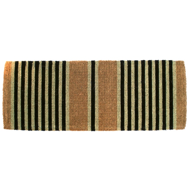 Imports Unlimited Hand-woven Black Ticking Doormat