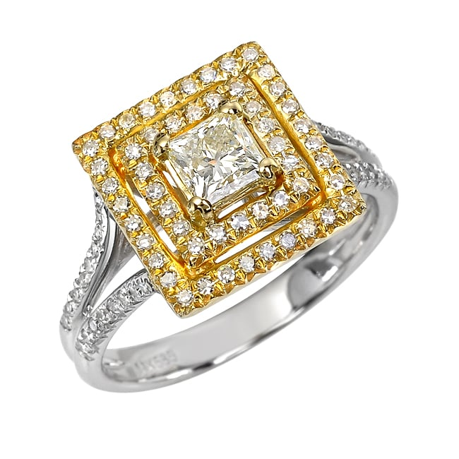 14k Two-tone Gold 9/10 ct TDW White Diamond Ring (J, SI2)