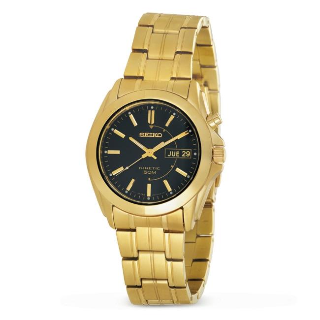 Seiko Men's Stainless Steel Goldtone Kinetic Watch