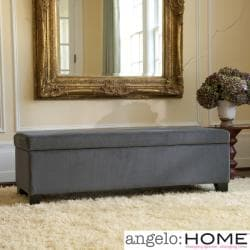 angelo:HOME Kent Antique Silver Gray Wall Hugger Trunk Storage Ottoman