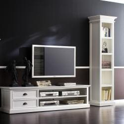 Interior White Media Center and TV stand
