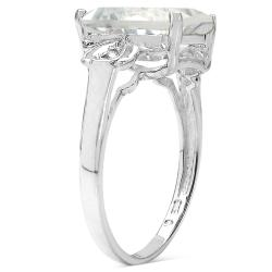 Malaika Sterling Silver Crystal Quartz and White Topaz Ring