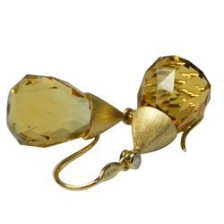 De Buman 18k Yellow Gold Citrine and Diamond Accent Earrings