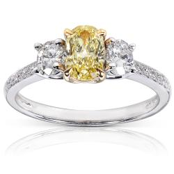 14k Gold 1 1/10ct TDW Certified Yellow and White Diamond Ring (FY, SI1)