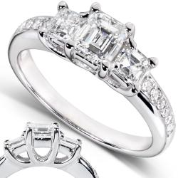 14k White Gold 1 1/5ct TDW Certified Diamond Engagement Ring (H, VS2)