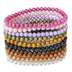 Miadora Multi-colored FW Pearl 10-piece Elastic Bracelet Set (5-6 mm)