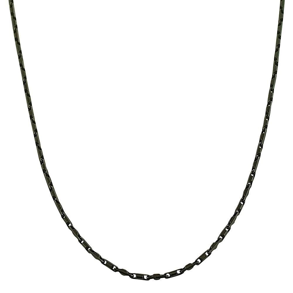 Fremada Black-plated Sterling Silver Square Bar Link Necklace