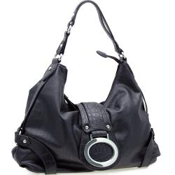 Dasein Two-tone Croco Trimmed Faux leather Hobo Bag